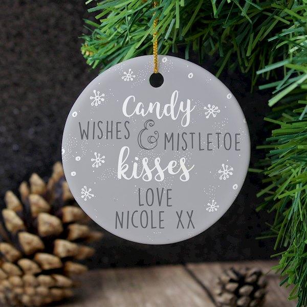 'Candy Wishes & Mistletoe Kisses' Round Ceramic Decoration