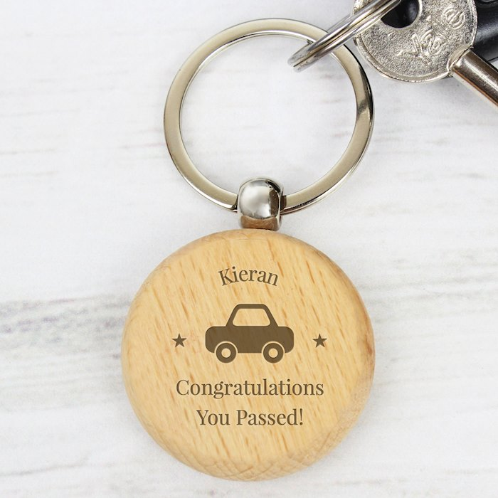 'Car Motif' Wooden Keyring