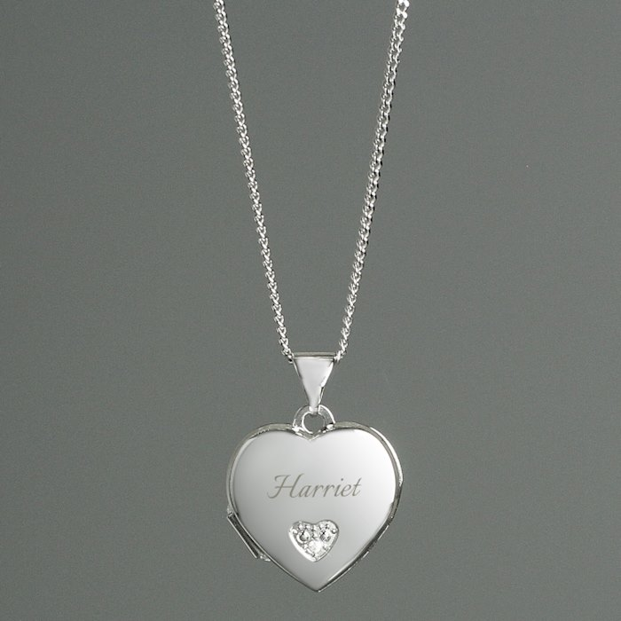 Children's Sterling Silver & Cubic Zirconia Heart Locket Necklace