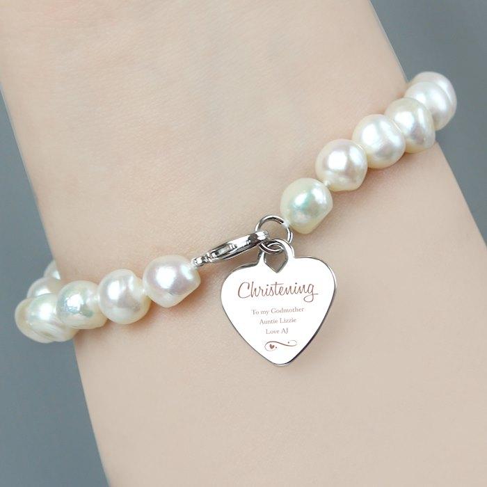 Christening Swirls & Hearts White Freshwater Pearl Bracelet