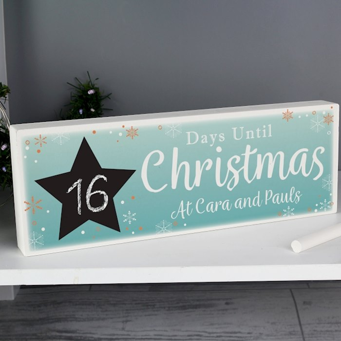 Christmas Chalk Countdown Wooden Block Sign with Chalk