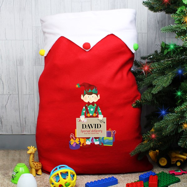 Christmas Elf Multicoloured Pom Pom Sack