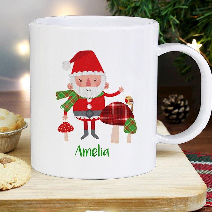 Christmas Toadstool Santa Plastic Mug
