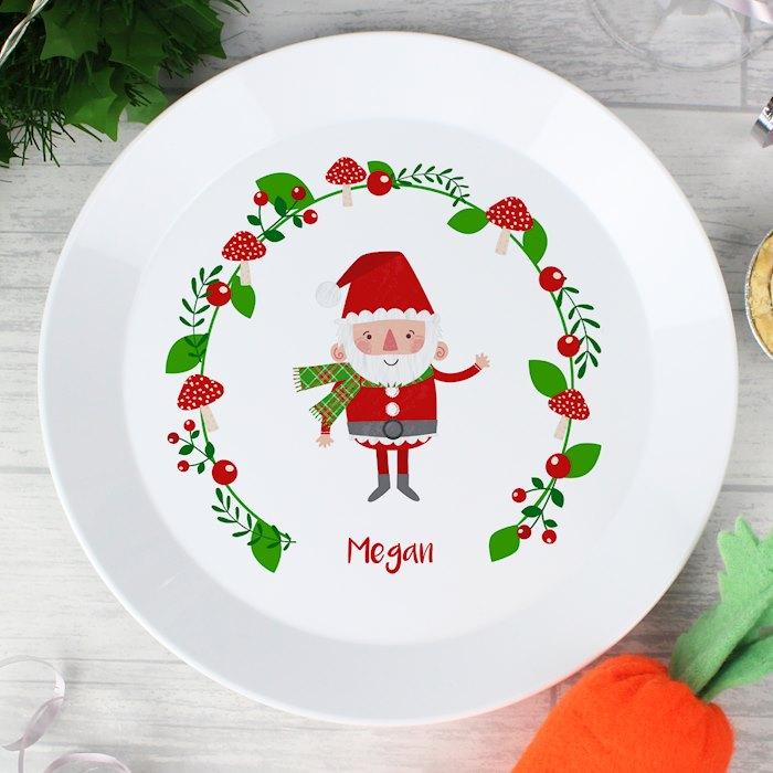 Christmas Toadstool Santa Plastic Plate