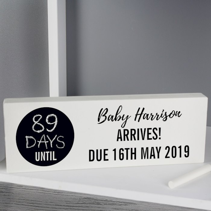 Classic Chalk Countdown Wooden Block Sign