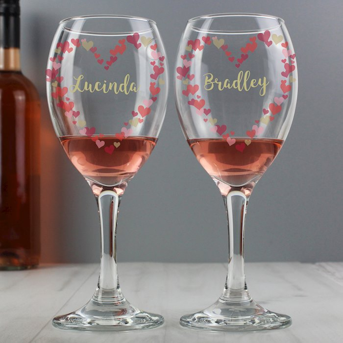 Confetti Hearts Wedding Pair of Wine Glasses