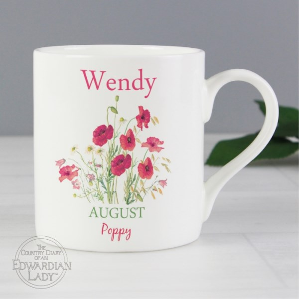 Country Diary 'August Flower Of The Month' Balmoral Mug