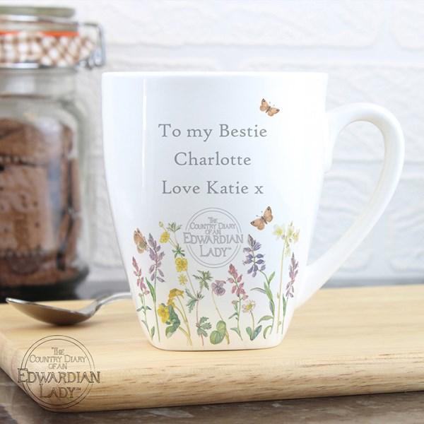 Personalised Country Diary Wild Flowers Latte Mug