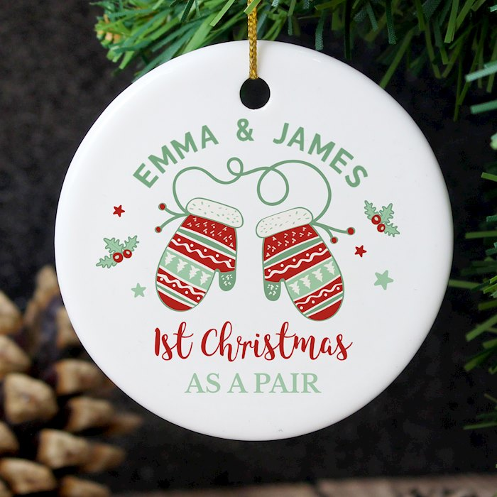Couples Christmas Mittens Round Ceramic Decoration