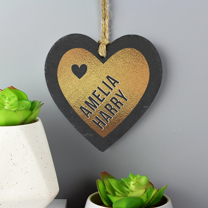 Couples Gold Printed Slate Heart Decoration