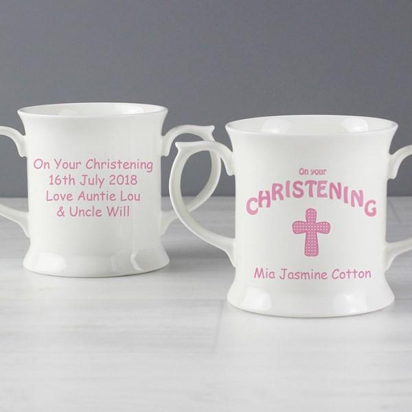 Personalised Cross Christening Loving Mug