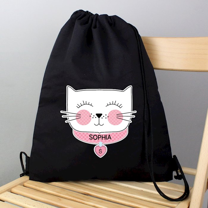 Cute Cat Black Swim & Kit Bag