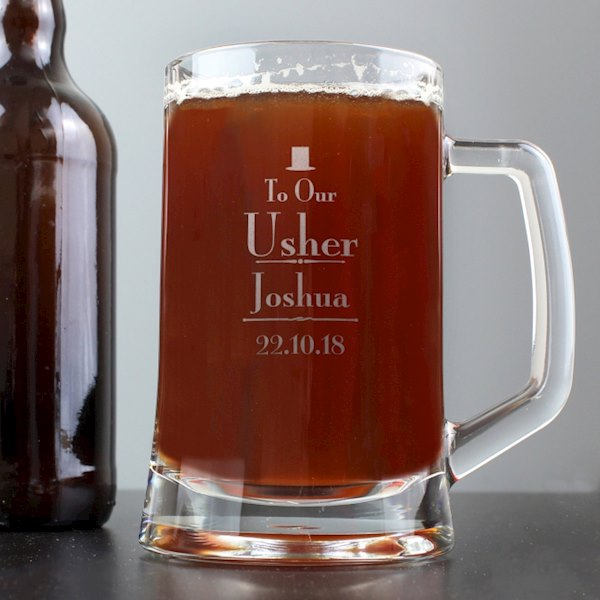 Decorative Wedding Usher Stern Half Pint Tankard