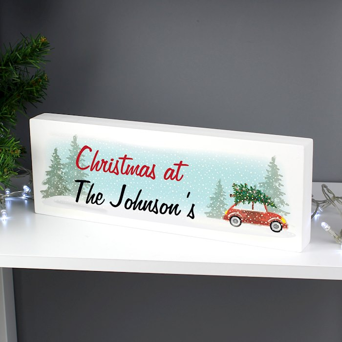 'Driving Home For Christmas' Wooden Block Sign