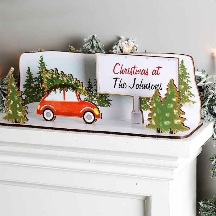 Driving Home For Christmas Wooden Scene
