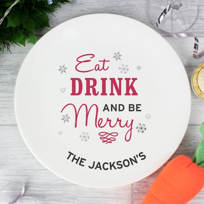 Eat Drink and Be Merry Christmas Plate