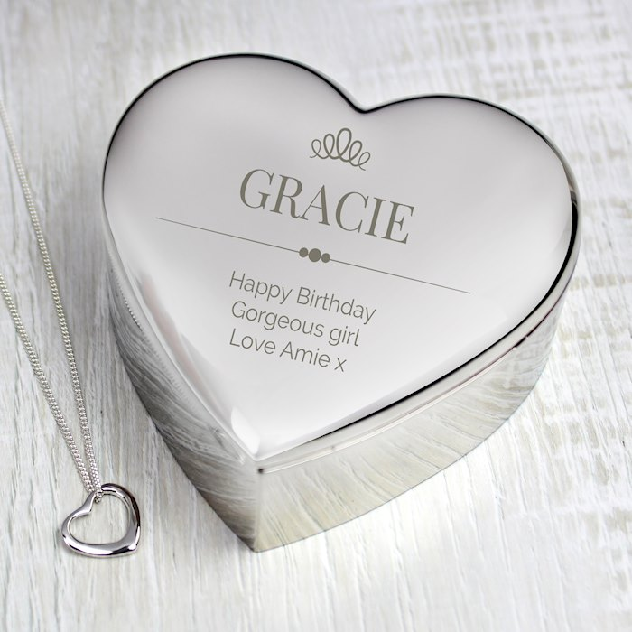 Elegant Crown Heart Trinket Box & Necklace Set