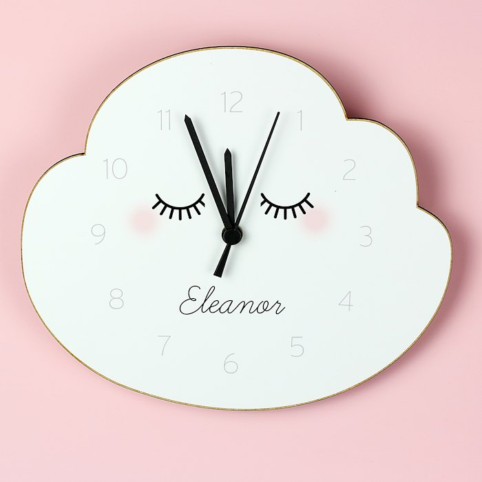 Eyelash Cloud Shape Wooden Clock
