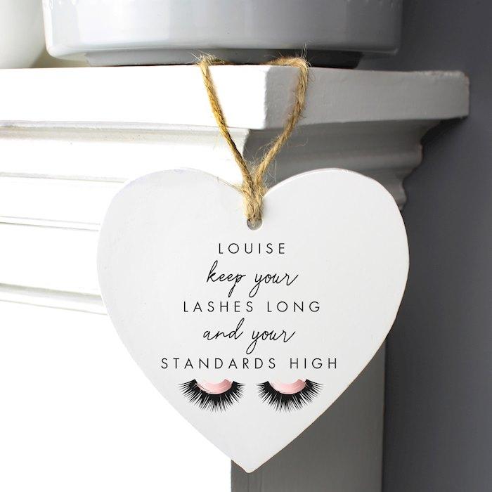 Eyelash Wooden Heart Decoration