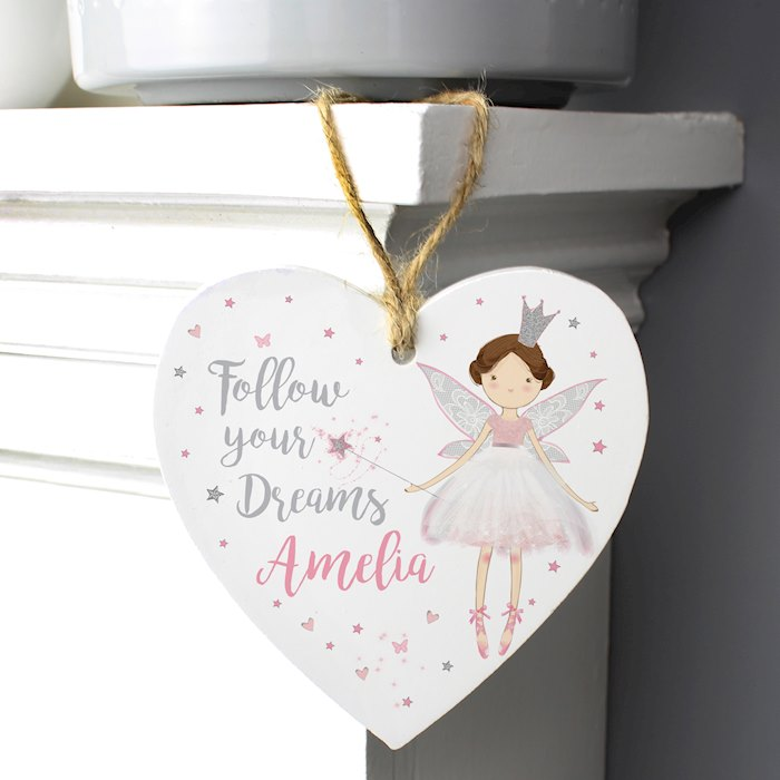 Fairy Princess Wooden Heart Decoration