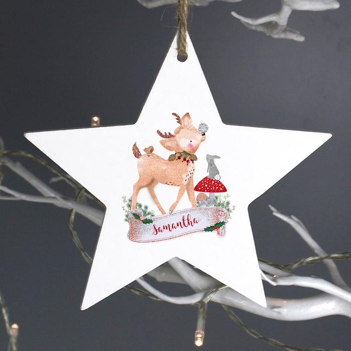 Festive Fawn Wooden Star Decoration