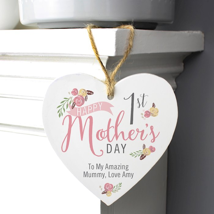 Floral Bouquet 1st Mothers Day Wooden Heart Decoration