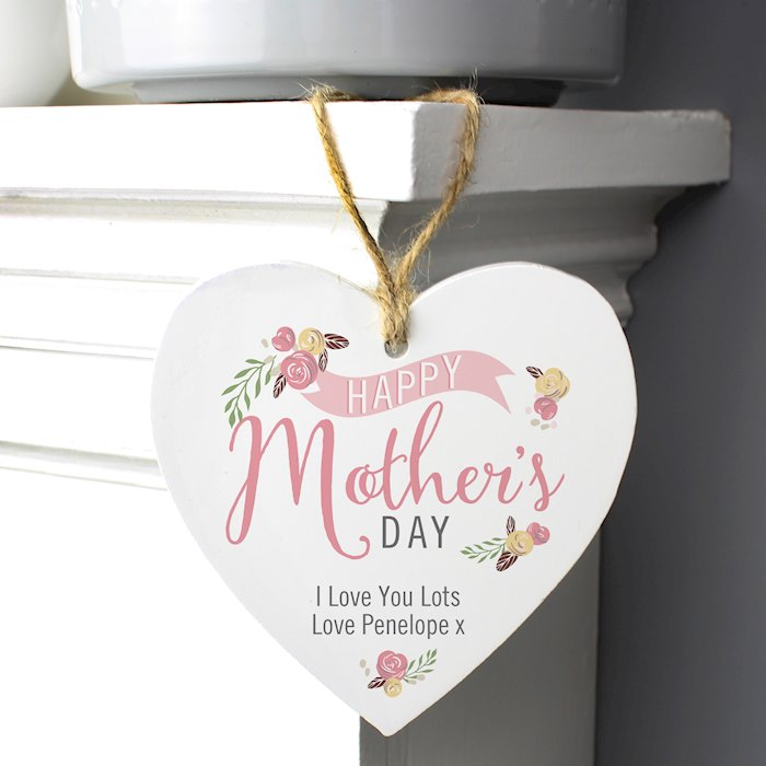 Floral Bouquet Mother's Day Wooden Heart Decoration