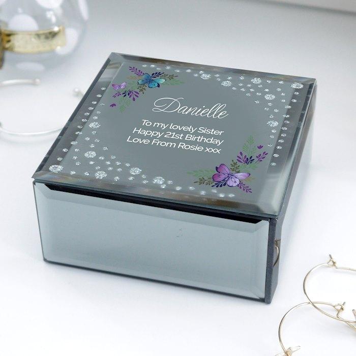 Floral Butterfly Diamante Glass Trinket Box