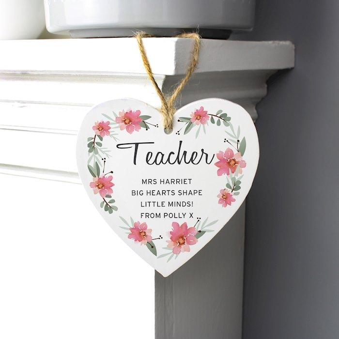 Floral Sentimental Wooden Heart Decoration