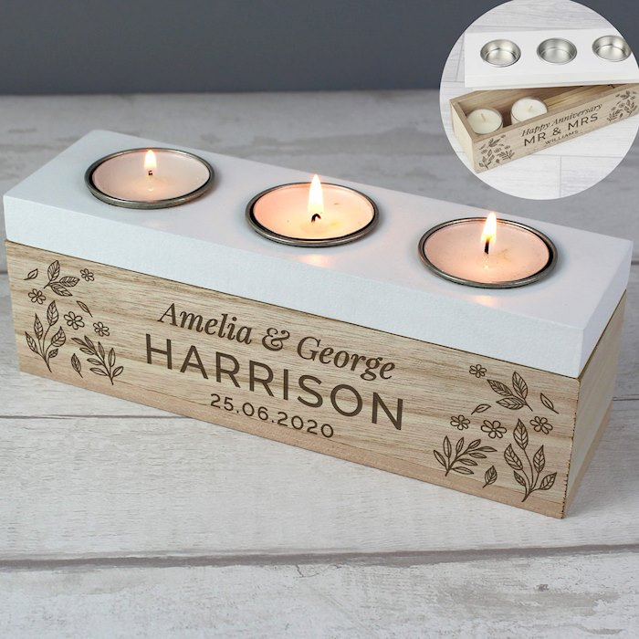 Floral Triple Tea Light Box