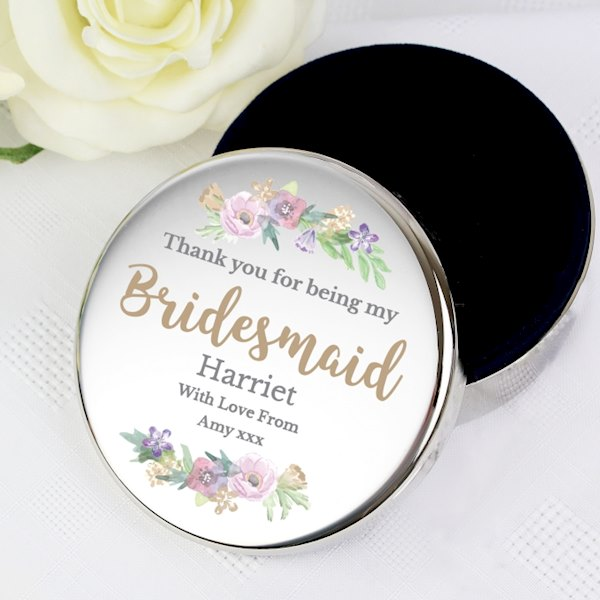 Personalised Bridesmaid 'Floral Watercolour Wedding' Round Trinket Box