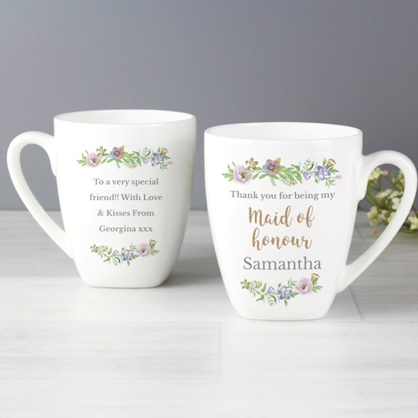 Personalised Maid of Honour 'Floral Watercolour Wedding' Latte Mug