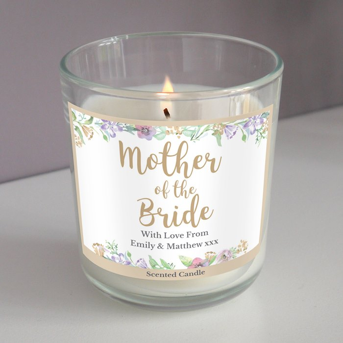 Personalised Mother of the Bride 'Floral Watercolour Wedding' Scented Jar Candle