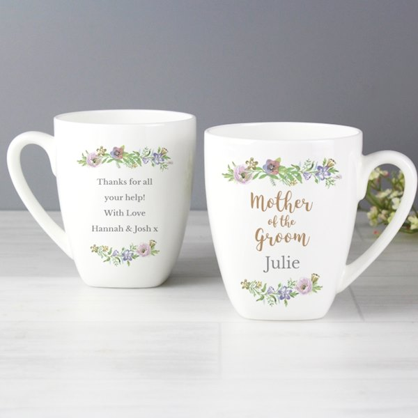 Personalised Mother of the Groom 'Floral Watercolour Wedding' Latte Mug