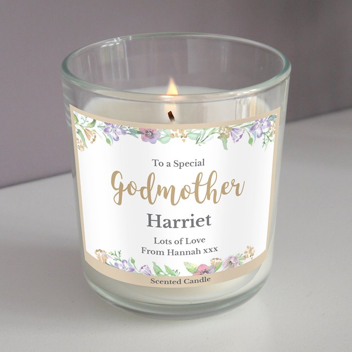 Floral Watercolour Scented Jar Candle