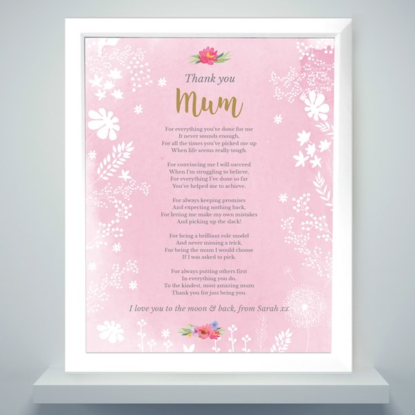 Floral Watercolour White Framed Poster Print