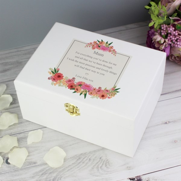 Floral Wishes White Wooden Keepsake Box