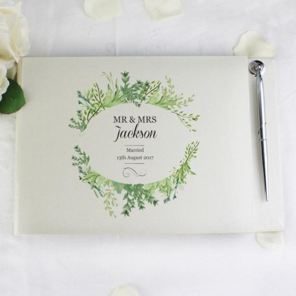 Personalised Fresh Botanical Hardback Guest Book & Pen
