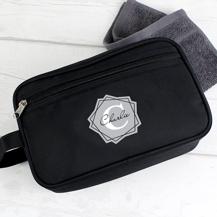 Geometric Initial Black Wash Bag