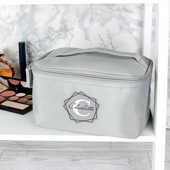Geometric Initial Grey Make Up Wash Bag