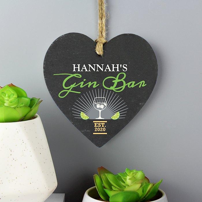 Gin Bar Slate Heart Decoration
