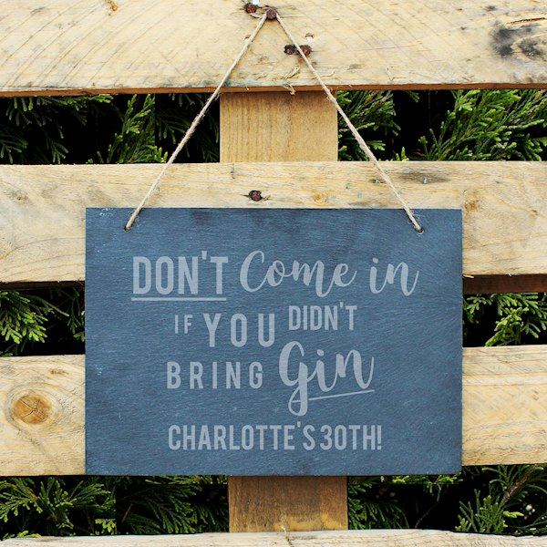 Gin Large Hanging Slate Sign