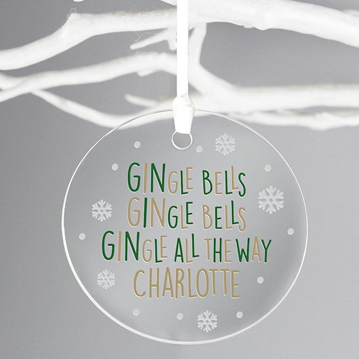Personalised GINgle Bells Round Bauble Acrylic Decoration