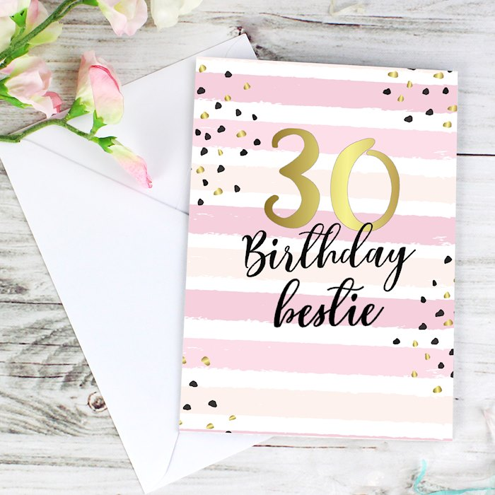Gold and Pink Stripe Birthday Card