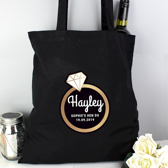 Gold Bling Ring Hen Party Black Cotton Bag