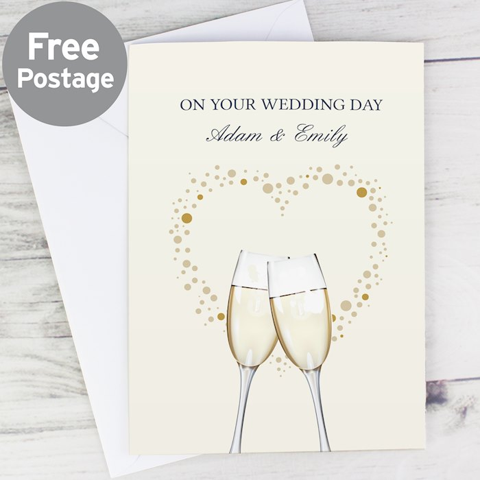 Gold Champagne Flutes Card