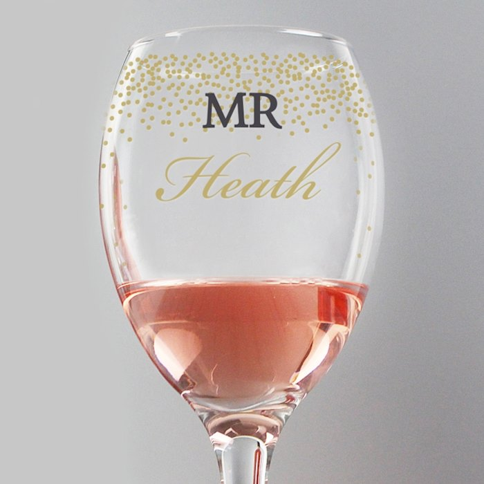 Gold Confetti Wine Glass
