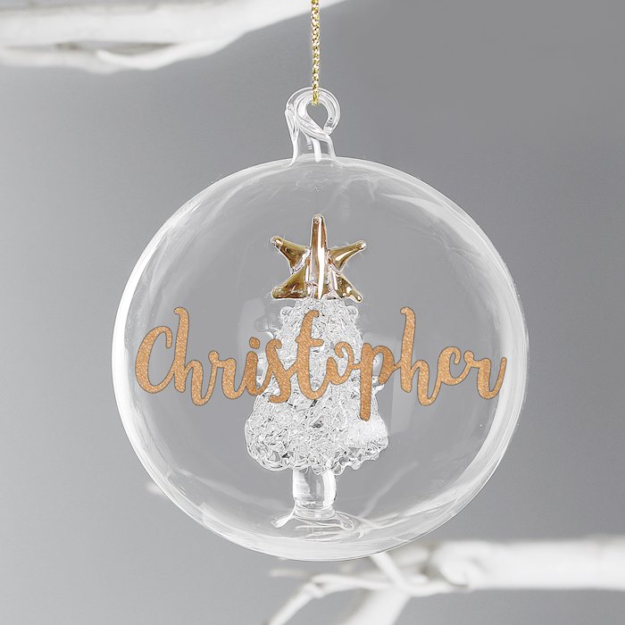 Gold Glitter Name Only Tree Glass Bauble
