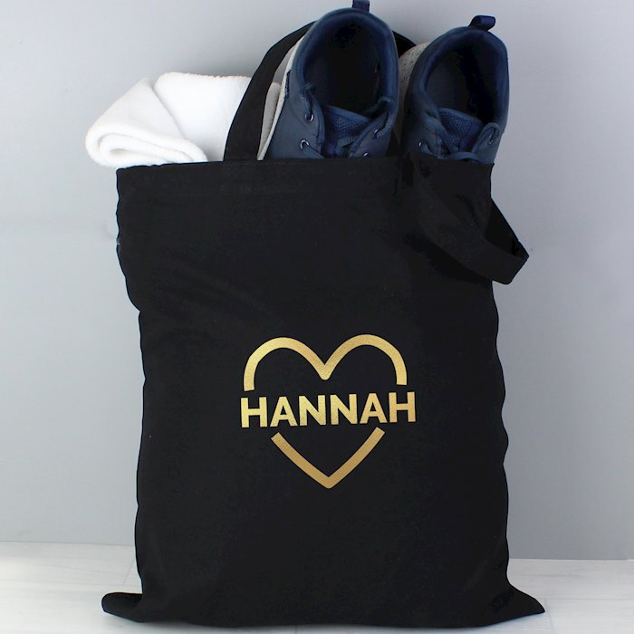 Gold Heart Black Cotton Bag