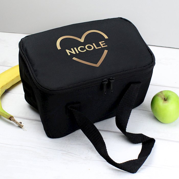 Gold Heart Black Lunch Bag